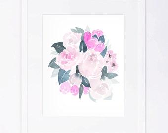 Pink White Watercolor Flower Bouquet Print