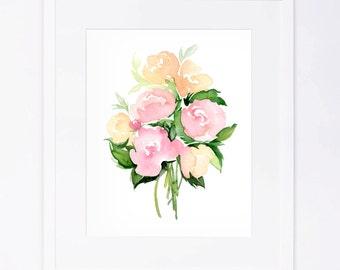 Pink Peach Watercolor Flower Bouquet Print