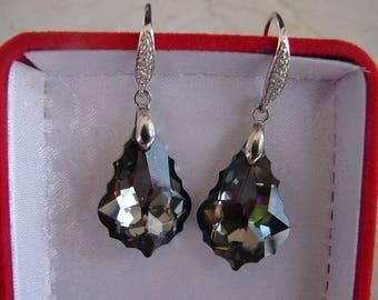 Earring Swarovski baroque night 925 sterling silver earrings