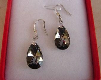 Earring Swarovski silver night pear Sterling silver 925 earrings