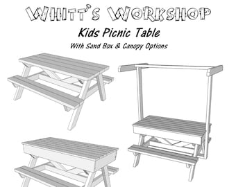 Picnic table plans etsy kids picnic table with sand box canopy option wood plans pdf file blueprint watchthetrailerfo