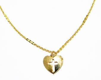 Olympic 16K Choker - Gold Necklace - Gold Chain Choker - Gold Chain Necklace - Gold Choker  - Cross Choker Necklace - Chain Choker - Heart