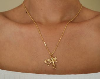 Angel Necklace - Gold Necklace - Gold Chain Choker - Gold Chain Necklace - Gold Choker  - Chain Choker