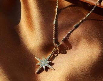 Pave Star Necklace - Gold Choker - Gold Chain Choker - Gemstone Choker - Diamond Necklace - CZ Stone Necklace - Gold Necklace