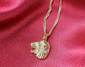One Time Fling Necklace  - Gold Chain Necklace - Lion Necklace - Tiger
