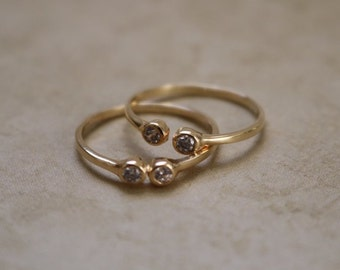 CZ Stone Cuff Ring - Gold Filled - Stone Ring - Gold Ring