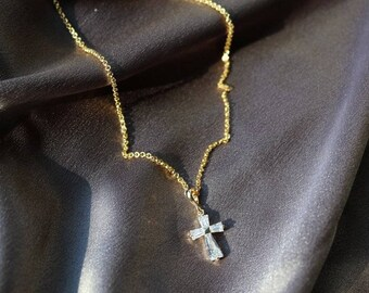 TC4 Cross 14K Gold Plated Necklace - Gold Chain Necklace - Gold Necklace - Cross Necklace - Crucifix Necklace - Religious Necklace