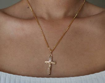 Loyal Crucifix 16K Gold Plated Necklace - Gold Chain Necklace - Gold Necklace - Cross Necklace - Gifts for Her - Religious Necklace