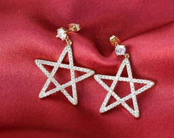 Stardust CZ Earrings - Gold Plated Earrings - Star Earrings  - Gold Earrings