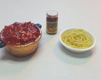 1:12 Noodles and Sauce miniature spaghetti dollhouse miniatures