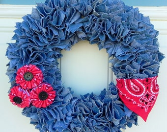 "12"" Denim Handkerchief wreath"
