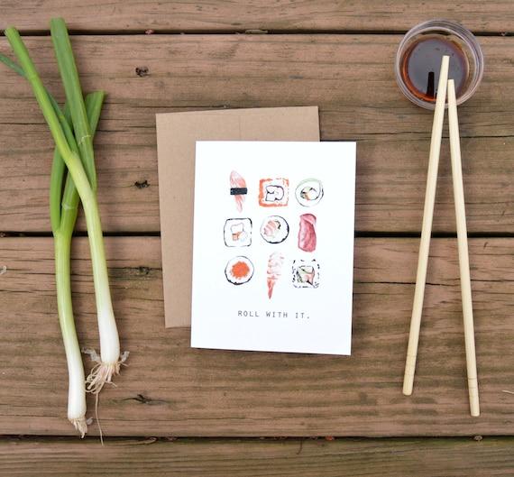 Roll With It Sushi Folded Notecard Watercolor Food Etsy Akashi japanese restaurant and sushi bar! etsy