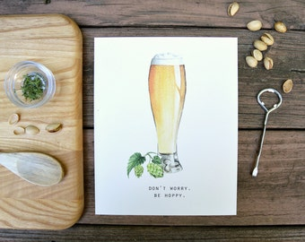 Beer, Bar Decor, Watercolor, Food Illustration, Kitchen Decor, Inspiration, Art Print, 8x10, Father's Day Gift