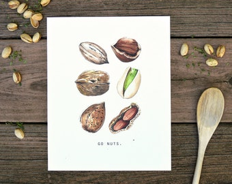 Go Nuts, Watercolor, Food Illustration, Kitchen Decor, Inspiration, Art Print, 8x10