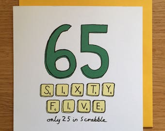 65th Birthday Card 65 Scrabble