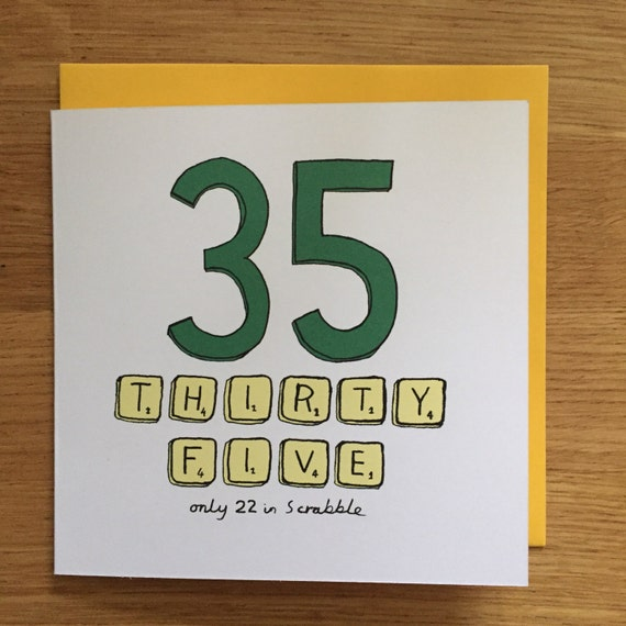 35e Verjaardag Card 35e Scrabble 35 Etsy
