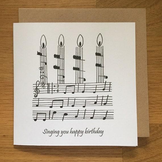Karte Happy Birthday Geburtstagskarte Musik Singen Chor
