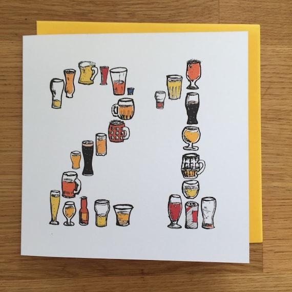 21 Birthday Card Beer Card Male Man Twenty One 21st Etsy