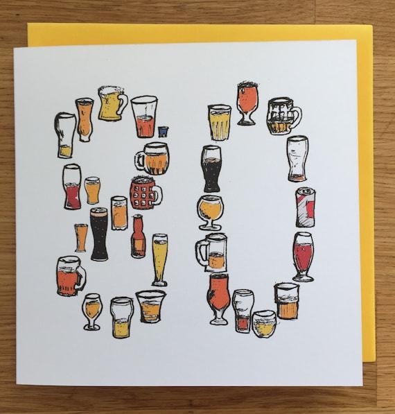 80 Birthday Card Eightiet Eighty 80th Beer Male Man
