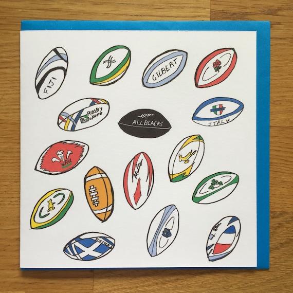 Carte De Rugby Carte De Joyeux Anniversaire De Rugby Boules Etsy