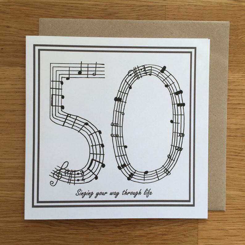 50th Birthday Card Music Card Singing Card Fithy