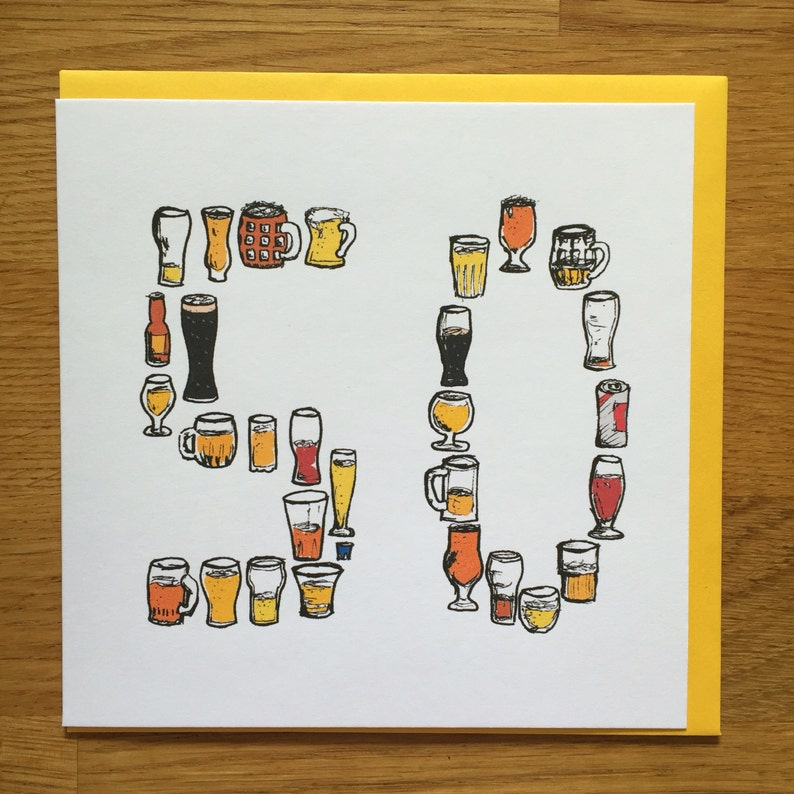 50th Fifty Birthday Card Men Male Drinking Beer 50