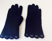 Vintage Black Sequin Women Gloves Beaded Trim Black Ladies Glove, Tailored Faux Suede Black Pair of Gloves, Size Small