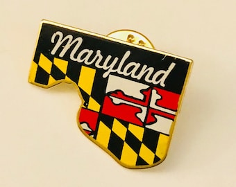 Maryland State Pin US States Enamel Pinback Hat Scarf Lapel Pins Hand Made in USA State Flag Brooch Tie Tack Vintage Medieval Times Crest