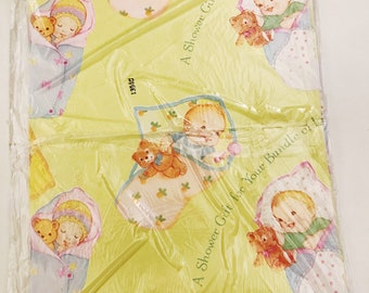 Vintage Baby Shower Gift Wrap New Baby Gift Wrap Single Sheet Wrapping Paper Yellow Paper New Born Infant and Teddy Bear and Baby Gift