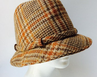 3a761100d3a Fedora Wool Hat Hatters Vintage Plaid Brown Shades of Brown Unisex Hat Turn  Down Brim Lined Detective Investigator Inspector Gadget Hat