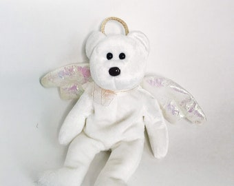 20b8ee0dfa5 Vintage Beanie Baby White Teddy Bear Retired TY Halo the Angel Beanie Baby  Toy Collectible Dolls Beanie Babies Stuff Bears 1998