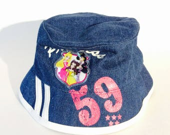 cff5e6c876d Disney Princess Kids Jean Bucket Hat Girl s Fairy Tale Theme Jean Disneyland  Kids Sun Hats Blue Denim White Size Toddler Cotton Cap Souvenir