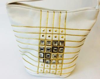 e2fad14af0eb White Gold Rhinestone Purse Faux Leather Off White Handbag with Studs  Sequin Cross-body Bag Shoulder Bags 1980 s Disco Large Retro Purses