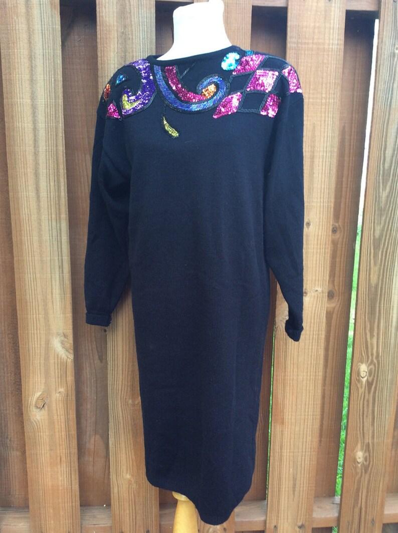 f8619fe2730 1980s Darian Knit Sweater Dress Sequins Black Long Sleeve