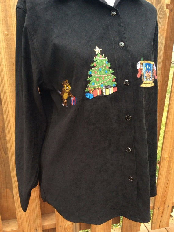 Black Long Sleeve Woman/'s Size M Holiday Velveteen Blouse Tops Ugly Christmas Shirt Bill Blass Jeans Ladies Christmas Shirt Button Down