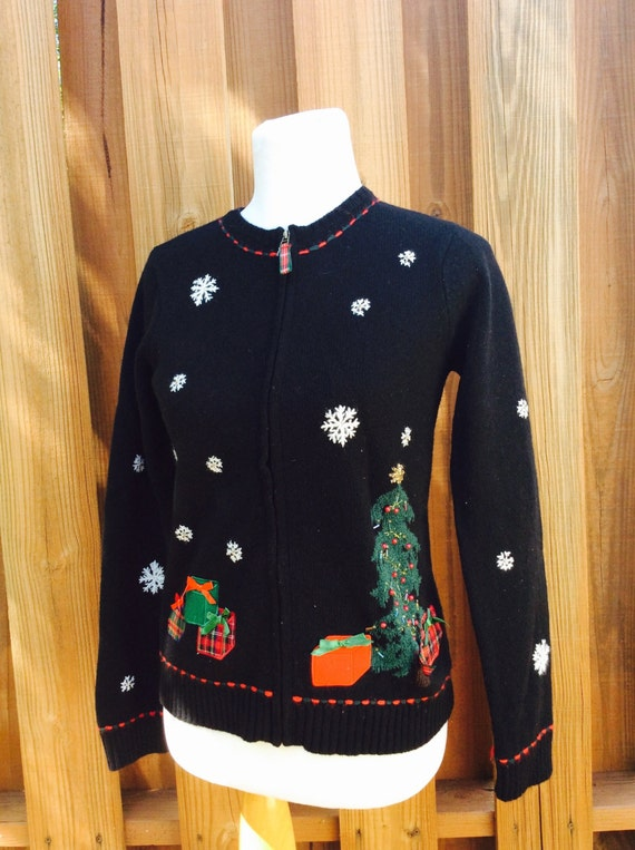 90s Christmas Sweaters.Vintage 80s 90s Christmas Sweater Holiday Cardigan Ugly Christmas Sweater Charter Club 100 Lambswool