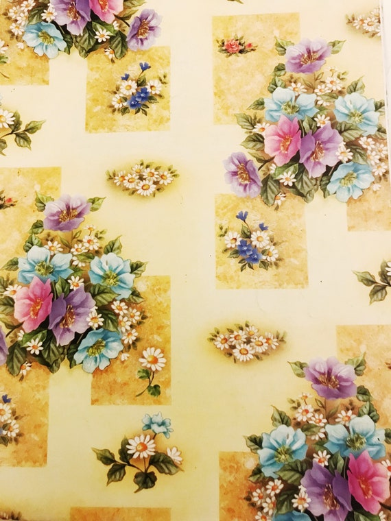 Vintage gift wrap floral bouquet flowers wrapping paper party etsy image 0 mightylinksfo