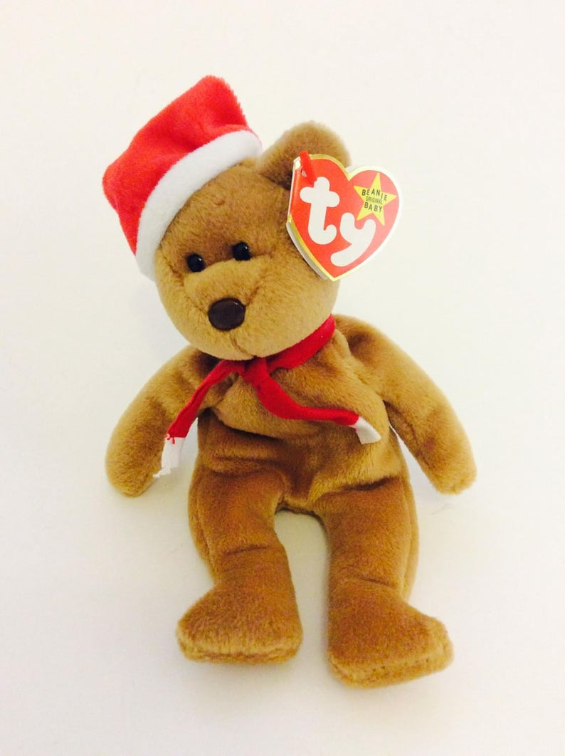 Holiday Beanie Baby Bear TY Vintage Brown Christmas Santa Hat  bf92e324a36e