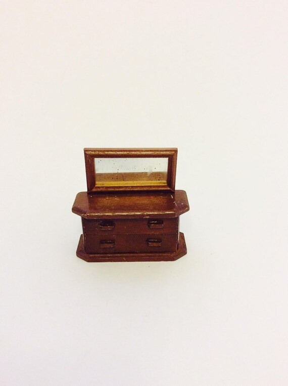 Vintage Dresser Vtg Mid Century Wood Vanity Dresser Dollhouse Etsy