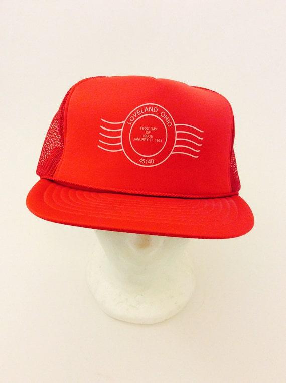 Vintage Postal Worker USPS Trucker Hat Red Cap Loveland Ohio  bfb7ed20c10
