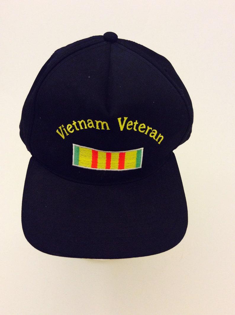 f585f520e53e8 Vintage Vietnam Veteran Black Trucker Hat Military Made in USA
