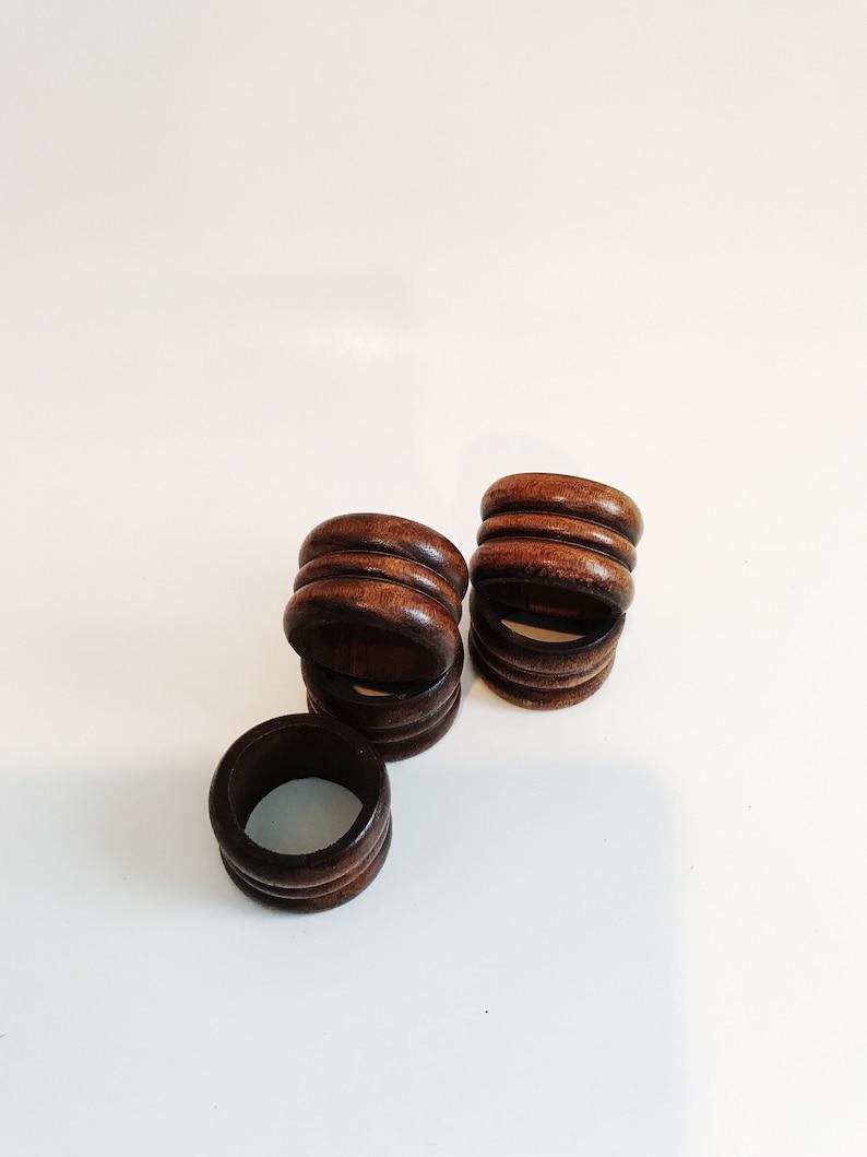 Vintage  Wood Napkin Rings Mod Dark Brown Wooden Napkin Holder Rustic  Mid Century Ridge Round Napkin Ring