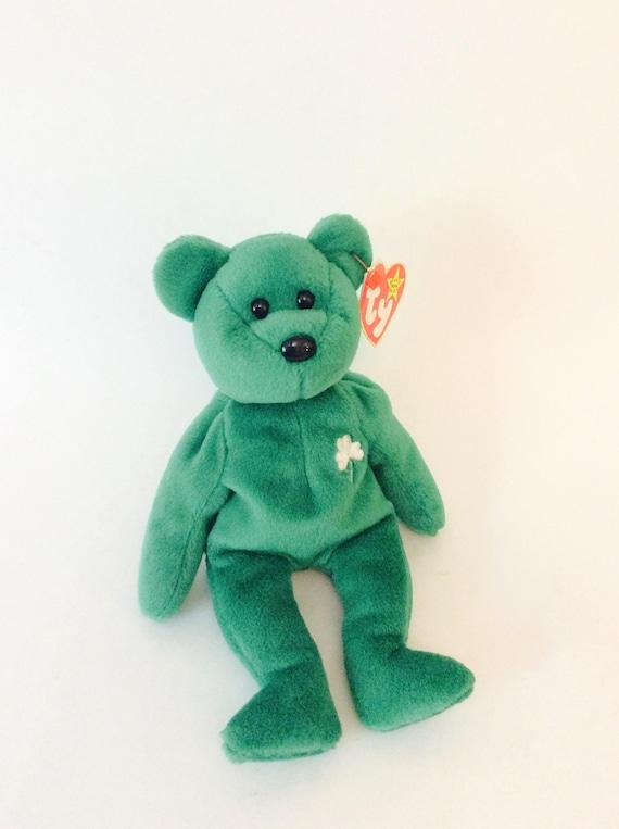 68fab5a9fd2 TY Beanie Baby Vintage Erin Bear Emerald Green Shamrock Teddy