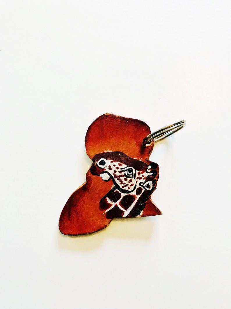Vintage Leather Africa Key Chain African Keychain Hand-painted Giraffe Key Holder Key Chains African Continent