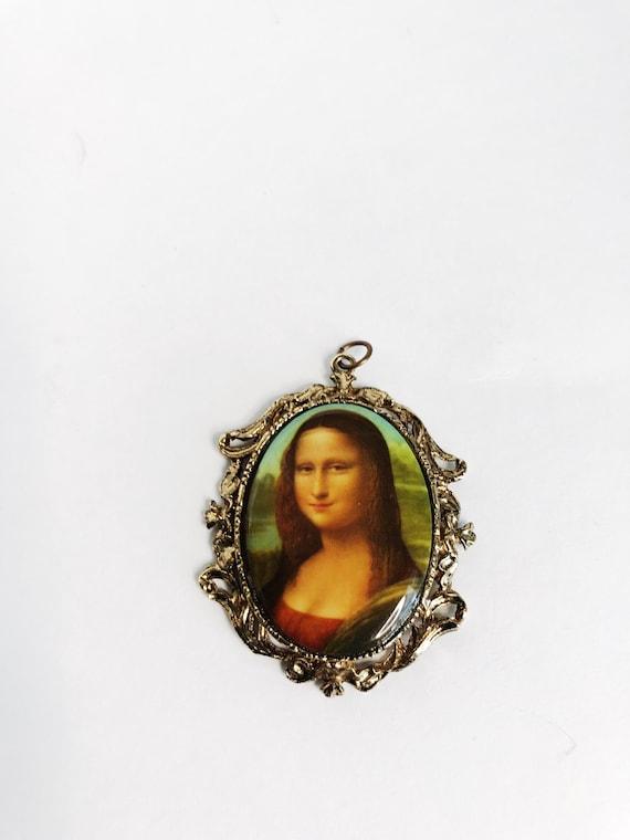 Mona Lisa Locket Vintage Italian Pendant Souvenir Unique Vintage Gift Mothers Day Gift