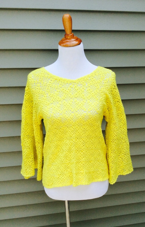 Vintage Bright Mod Yellow Handmade Sweater Top Pullover Sweaters Bellbottom Flare Sleeves Hand Croquet Flower Power Floral Music Festival
