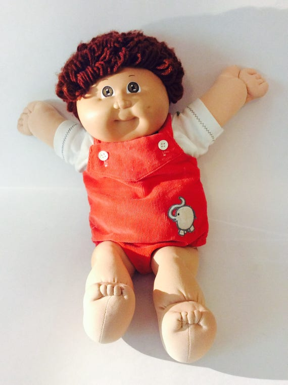 cabbage patch kid doll vintage cpk boy in overalls brown yarn etsy. Black Bedroom Furniture Sets. Home Design Ideas