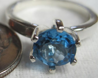 Swiss Blue Topaz Natural 7mm AAA Color Gemstone Solitaire Ring Heated Brazil Earth Mined Solid Premium 925 SS USA Sz 678