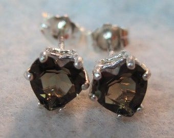 Smoky Quartz Heart Natural AAA Color 6mm Gemstone Heart Stud Earrings Brazil vvs Clear Heated Earth Mined Solid 925 Sterling Silver USA SS