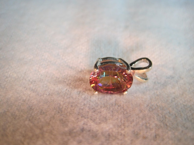 7x5 Oval Azotic Mystic Topaz Sterling Silver Pendant w//Chain Necklace
